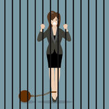 Business woman with weight in prison Stock Image