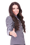 Business woman with welcome gesture stock photos