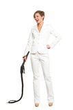Business woman with a whip in her hands. Royalty Free Stock Photo