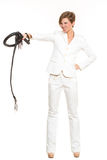 Business woman with a whip in her hands. Stock Images