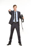 Business woman with a whip in her hands. Royalty Free Stock Image