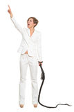 Business woman with a whip in her hands. Stock Photos