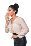 Business woman whispering gossip Royalty Free Stock Photo
