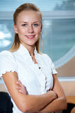 Business woman in white Royalty Free Stock Images