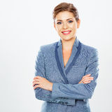 Business woman  white background portrait. Royalty Free Stock Images
