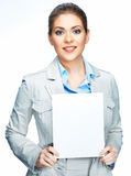 Business woman white background . Sign board. Stock Photography