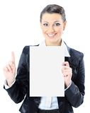 Business woman with a white banner. Stock Photography
