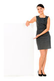 Business woman white banner Stock Photography
