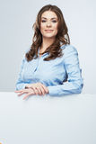 Business woman white banner hold Royalty Free Stock Image