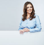 Business woman white banner hold Stock Photography