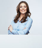 Business woman white banner hold Royalty Free Stock Photo
