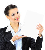 Business woman with a white banner Stock Photography