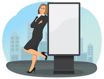 Business woman and white billboard Stock Photography