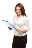 Business woman in a white blouse and skirt Royalty Free Stock Images