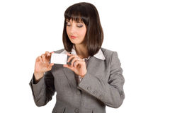 Business woman with white card Stock Images