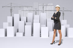 Business woman and white cubes with wire-frame Stock Images