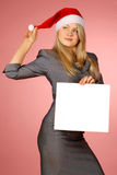 Business woman with white leaf Stock Photo