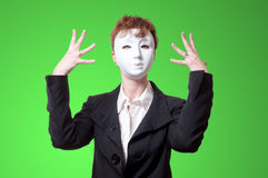 Business woman with white mask Royalty Free Stock Photo
