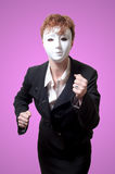 Business woman with white mask Royalty Free Stock Images