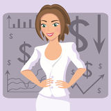 Business woman in white suit, smiling character on chart background Stock Photo