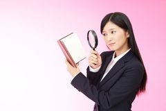 Portrait of a young business woman. Business woman who checks the schedule Royalty Free Stock Image