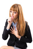 Business woman who has chest pain Royalty Free Stock Photos
