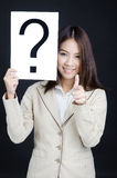 Business woman  Who's That direct hand suit Stock Images