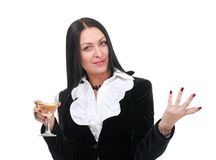 Business woman with wine Royalty Free Stock Images