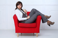 Business woman with wine glass Stock Photos