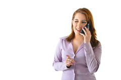 Business Woman Winking. While talking on the phone Stock Image