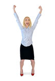 Business woman winner hands up Royalty Free Stock Photography