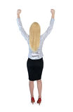 Business woman winner hands up Stock Photo