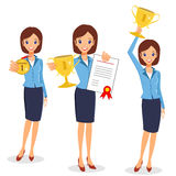 Business woman winner set. Cheerful lady holding prize and certi Stock Image