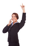 Business woman winning on the phone Royalty Free Stock Photo