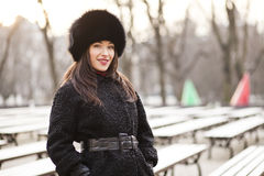 Business woman in winter city Royalty Free Stock Photos