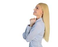 Business woman wishing something Stock Images
