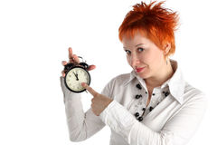 Business Woman With Clock. Royalty Free Stock Photos