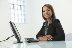 Business Woman With Computer Stock Photos