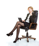 Business Woman With Laptop Sitting In A Chair Stock Photography