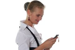 Business Woman With Mobile Stock Photo
