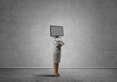 Free Business Woman With TV Instead Of Head. Stock Photo - 122909130