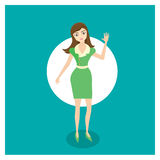 Business Woman. Business women with green apparel and shaking hand Royalty Free Stock Images