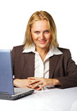 Business woman at work. Portraite of a young beautiful business woman executive at work Stock Photos