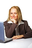 Business woman at work. Image of a happy business woman smiling against white background Stock Photos