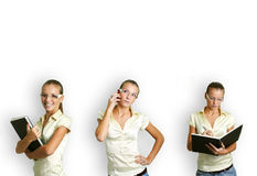Business woman at work. Business collage of a young and successful woman in some business situations Stock Photos
