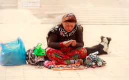 A business woman is at work in Bhaktapur,Nepal Royalty Free Stock Images