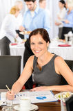 Business woman work during catering buffet Royalty Free Stock Photos
