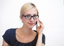 Business woman at work desk Stock Images