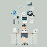 Business woman at work financial. Flat design illustration. Graph Stock Image