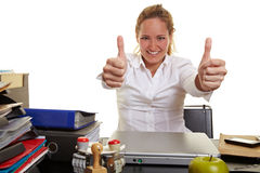 Business woman at work holding both Stock Photography